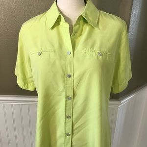 Neon Green/ Yellow Chico's Button Down Top